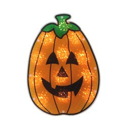 "Northlight 12"" Prelit Holographic Pumpkin Halloween Window Silhouette Decoration - Orange/Black"
