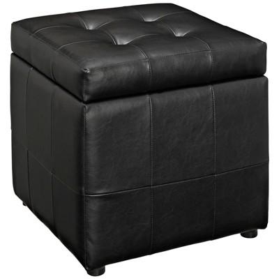 Volt Storage Upholstered Vinyl Ottoman Black - Modway