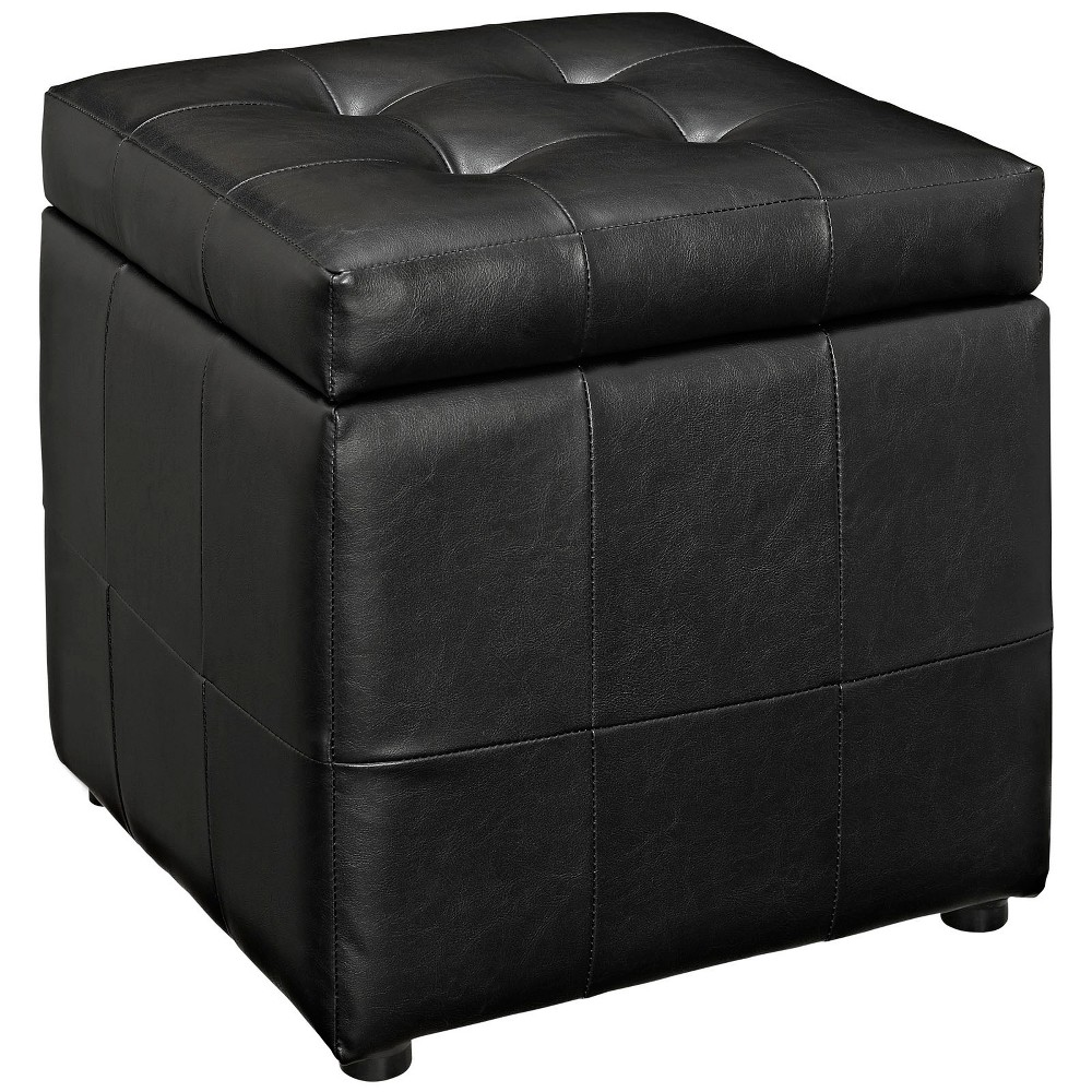 Image of Volt Storage Upholstered Vinyl Ottoman Black - Modway