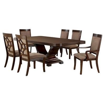 Sun U0026 Pine 7pc V Shaped Pedestal Dining Table Set Wood/Walnut