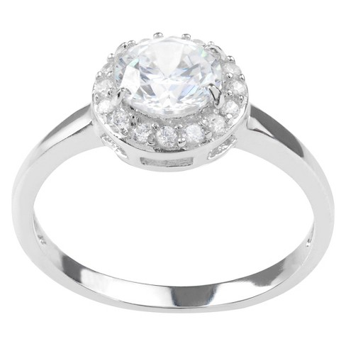 1 1/2 CT. T.W. Round-cut Cubic Zirconia Halo Engagement Pave Set Ring in Sterling Silver - Silver - image 1 of 2