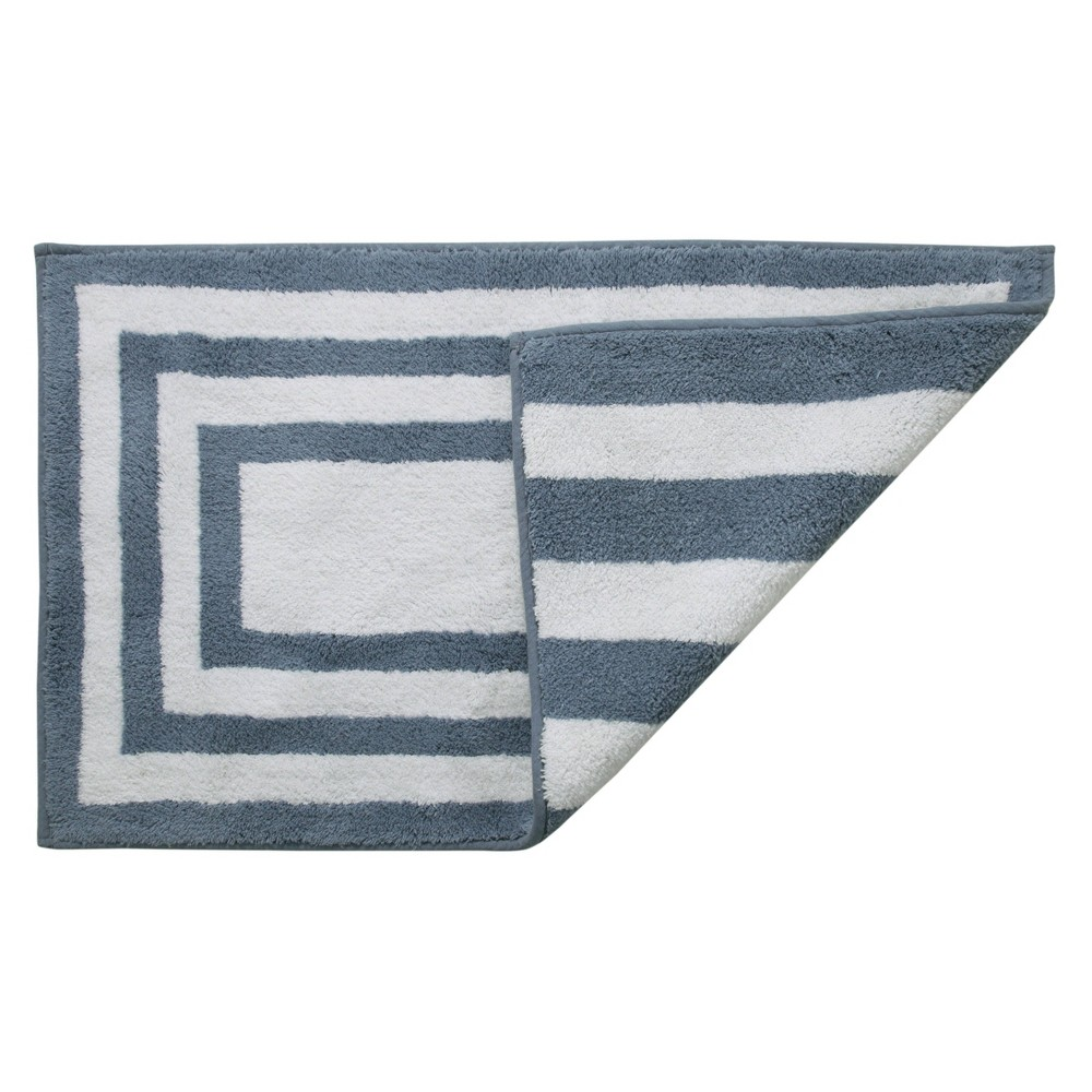 "Image of ""21""""X34"""" Basel Reversible Cotton Bath Rug Blue - Chesapeake"""