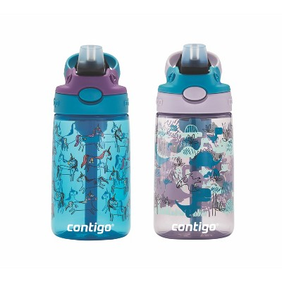 Contigo Autospout 14oz 2pk Kids Straw Water Bottle Blue/Purple