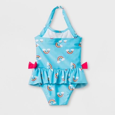 36976e5256 Baby Girls' Rainbow Print One Piece Swimsuit - Cat & Jack™ Blue : Target