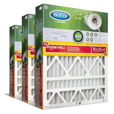 BestAir 3pk Honeywell 20X25X4 Replacement Air Furnace Filter Merv 8