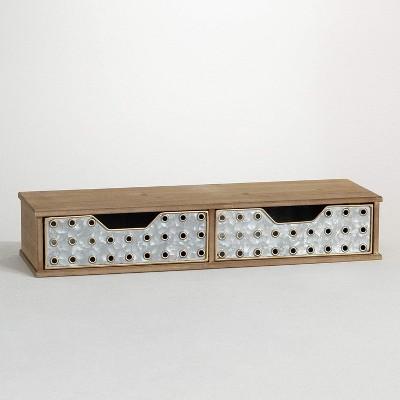 """Sullivans Two Drawer Monitor Riser with Storage Organizer 4.25""""H Brown"""
