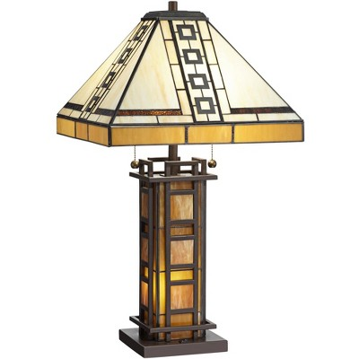 Robert Louis Tiffany Mission Table Lamp with Nightlight LED Oil Rubbed Bronze Amber Stained Art Glass Shade Living Room Bedroom