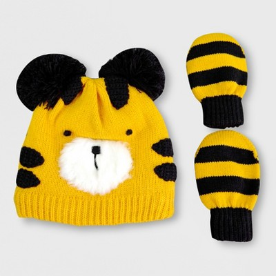 Toddler Boys' Lion Hat and Mitten Set - Cat & Jack™ Yellow 2T-5T