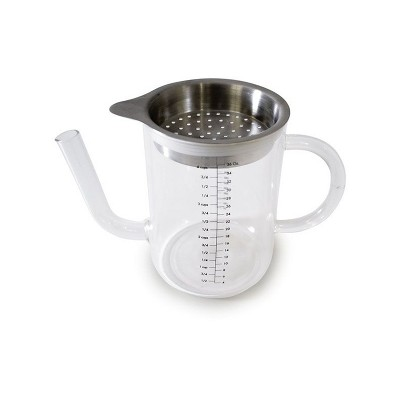Norpro 4 Cup Capacity Glass High Heat Resistant Gravy and Fat Separator Cup with Handle and Stainless Steel Strainer for Sauces and Juices