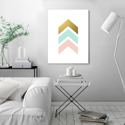 Americanflat Chevron Arrows Mint Blush Gold by Wall + Wonder Wrapped Canvas
