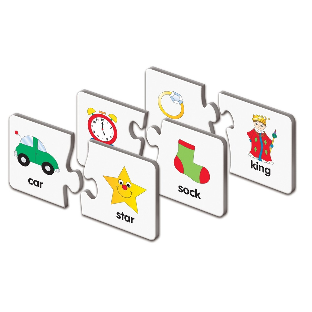 The Learning Journey Match It!, 60pc - Rhyme Teaching kids about rhyming is easy with Rhyme from The Learning Journey. These learning puzzle cards have fun visuals like a sock and a clock that can be paired together, and by using puzzle-piece shapes, your kids know for sure when they have a match. The children's activity cards help your kids sound out words to make rhymes, and who knows, with the rhyme activity cards, your little one might become the next great songwriter! Gender: Unisex.
