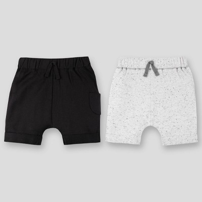 Lamaze 2pk Baby Boys' Organic Cotton Cargo Pull-On Shorts - Gray/Black 0-3M