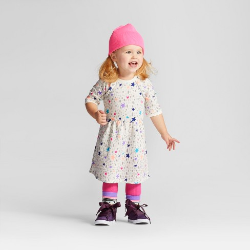 Toddler Girls' Stars French Terry Dress - Cat & Jack™ Almond Cream 3T - image 1 of 4