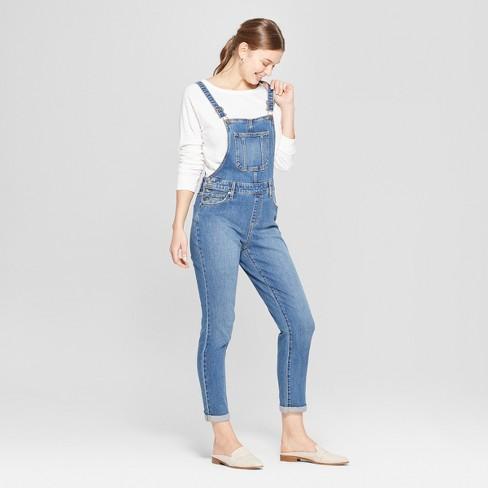 7812b987e60 Women s Mid-Rise Straight Leg Denim Overalls - Universal Thread ...