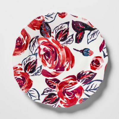 Melamine Salad Plate 8.4  Red/Blue Roses - Opalhouse™