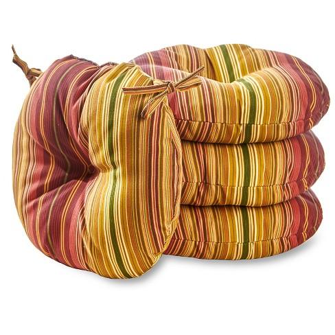 "4pk 15"" Kinnabari Stripe Outdoor Bistro Chair Cushions - Kensington Garden - image 1 of 3"