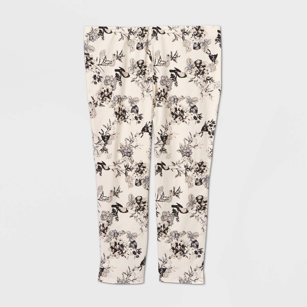 Women's Plus Size Floral Print Mid-Rise Skinny Cropped Trouser - Who What Wear Black 20W, Women's was $29.99 now $20.99 (30.0% off)