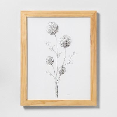 16  X 20  Flowering Branch Wall Art with Natural Wood Frame - Hearth & Hand™ with Magnolia