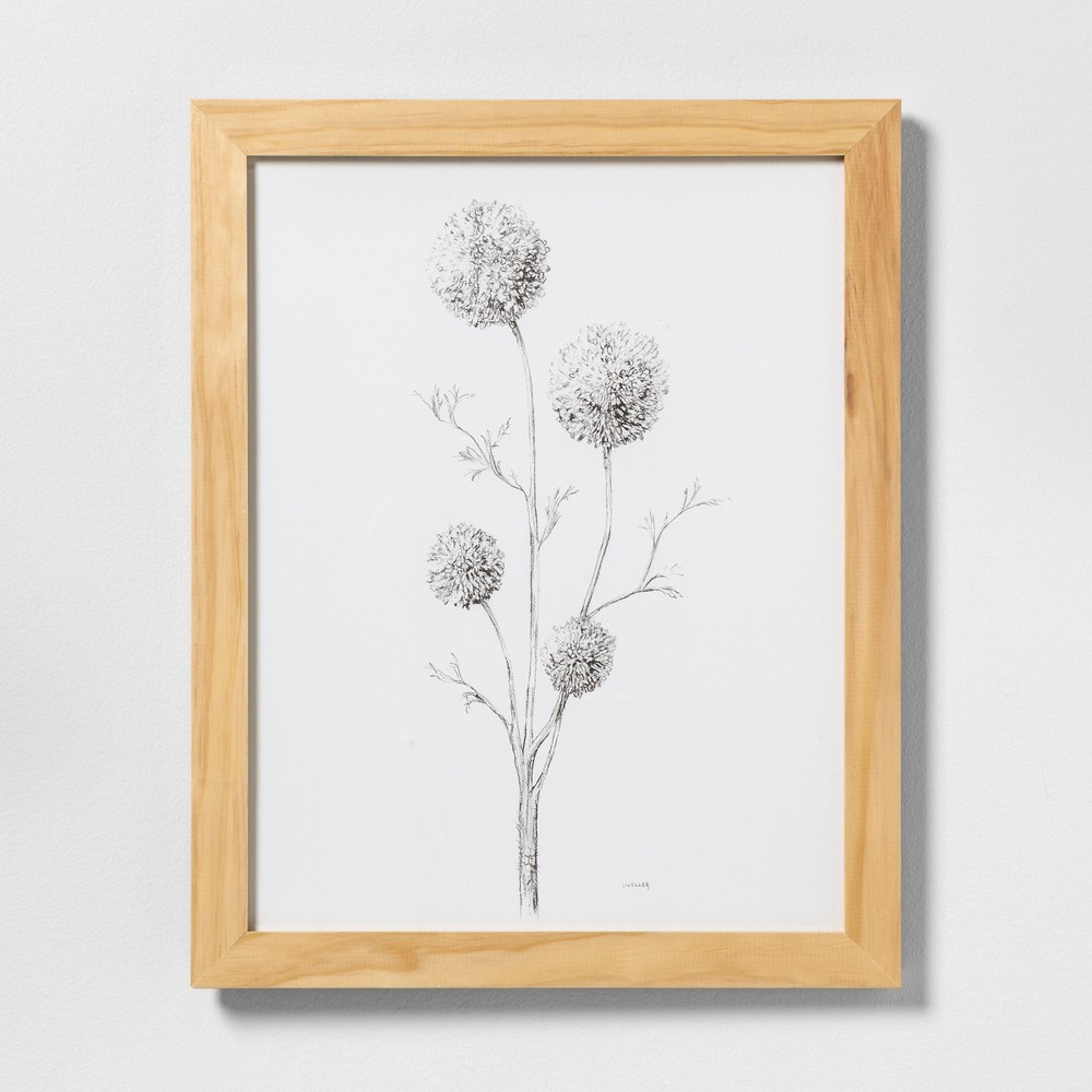"Image of ""16"""" X 20"""" Flowering Branch Wall Art with Natural Wood Frame - Hearth & Hand with Magnolia"""