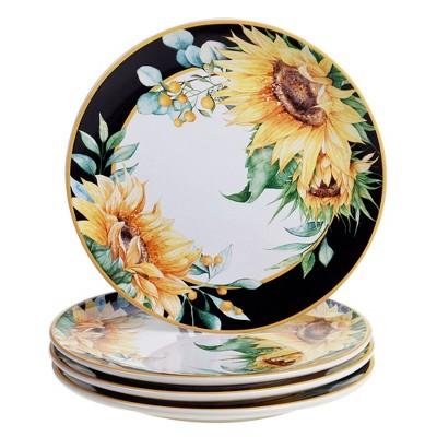 "10.8"" 4pk Earthenware Sunflower Fields Dinner Plates - Certified International"