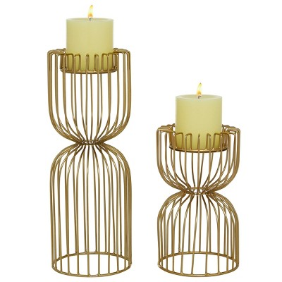 Set of 2 Metal Grid Votive Candle Holders - Olivia & May