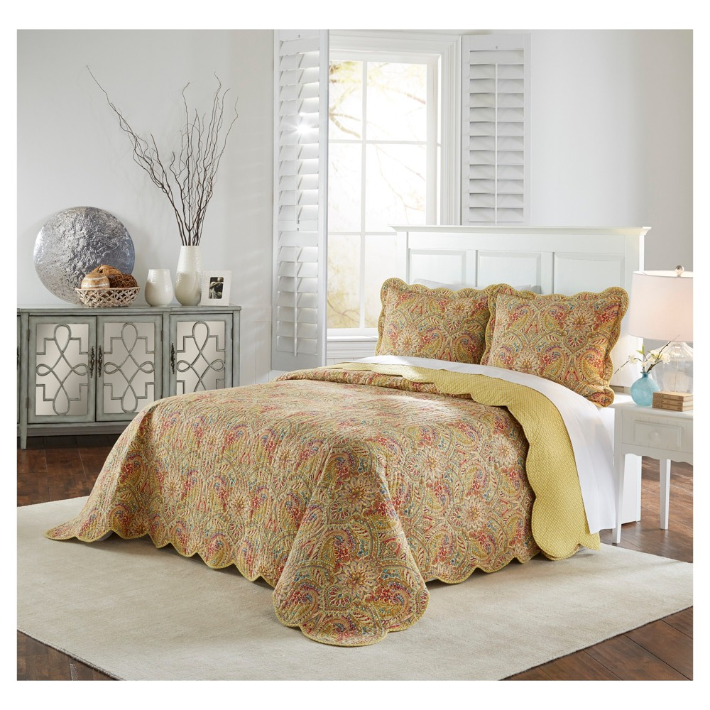 Yellow Floral Swept Away Bedspread Set (King) 3pc - Waverly, Multicolored