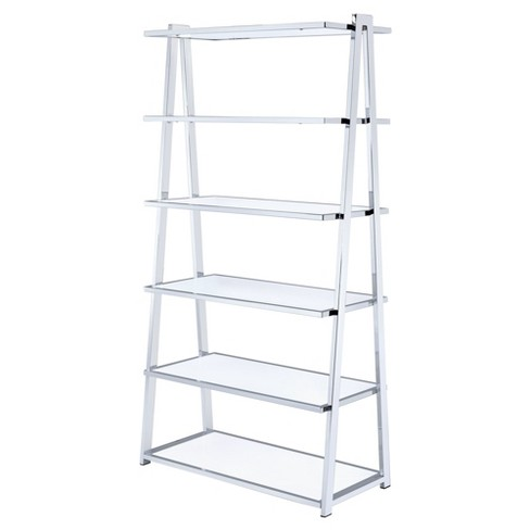 "Decorative Bookshelf 71"" White Chrome - Acme Furniture - image 1 of 4"