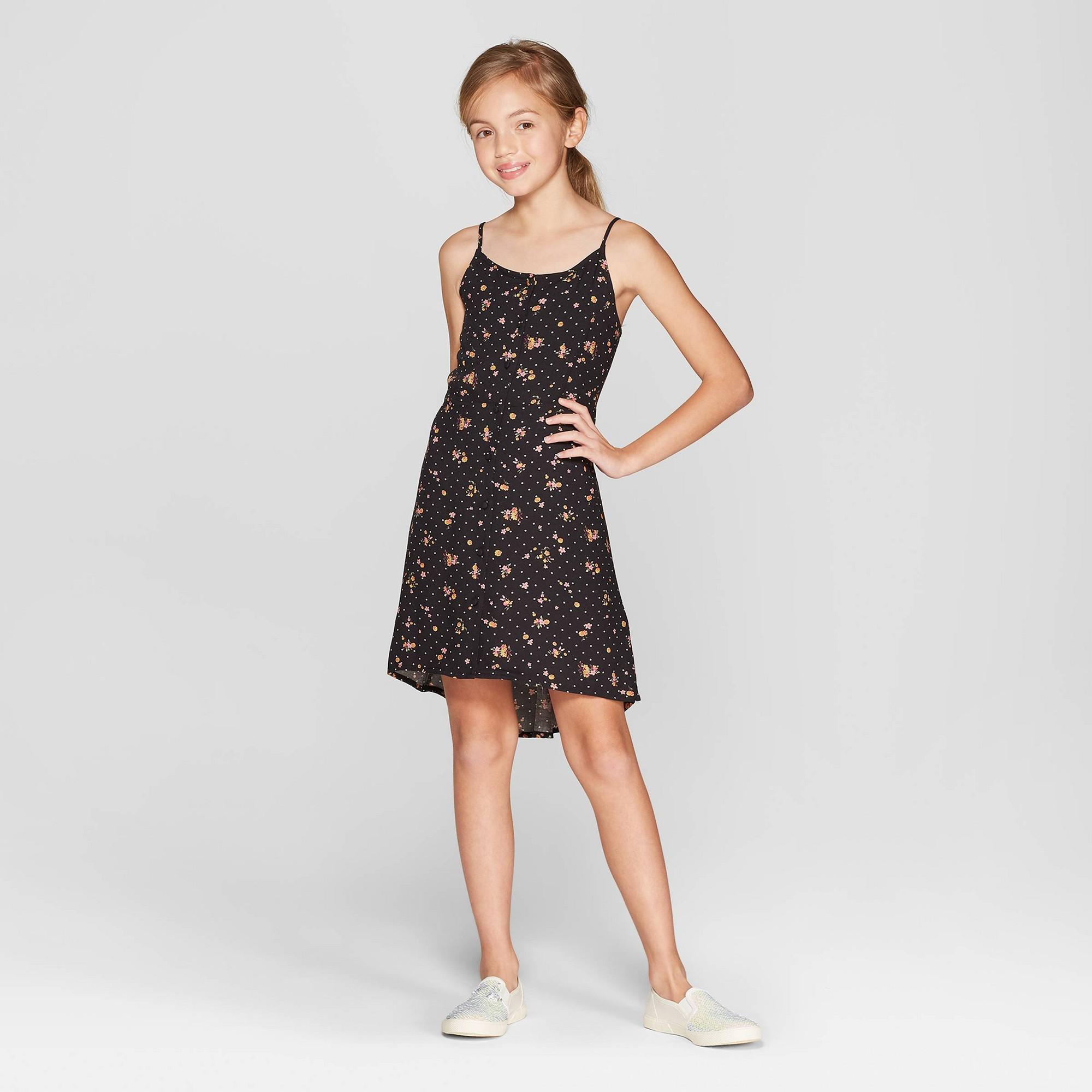 Girls' Button Front Dress - art class Black S