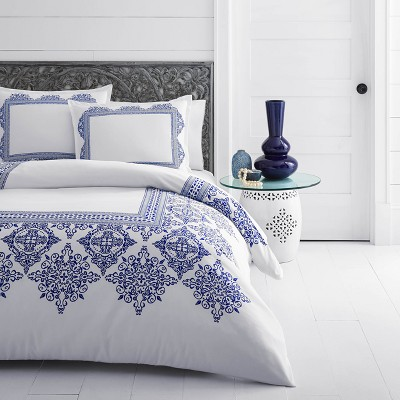 White Cora Duvet Cover Set (Full/Queen)- Azalea Skye