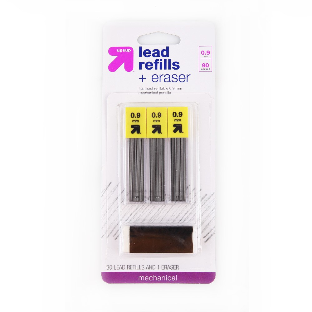 Image of 90ct Lead Refills and 1ct Eraser .9mm - Up&Up , Black