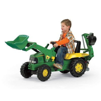 John Deere Kids' Backhoe Pedal Tractor with Front Loader by Rolly Toys