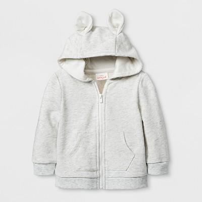Baby Boys' French Terry Critter Hooded Sweatshirt - Cat & Jack™ Tan 3-6M