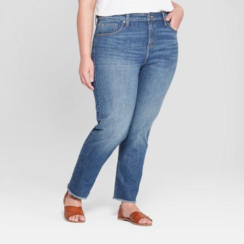 c7fcbceec8e Women s Plus Size Fray Hem Straight Jeans - Universal Thread™ Dark Wash    Target
