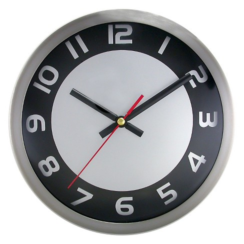 "Brushed Dial 9"" Wall Clock Black/Silver - TimeKeeper® - image 1 of 2"
