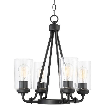 "Franklin Iron Works Black Chandelier 18"" Wide Rustic Clear Glass 4-Light Fixture for Dining Room House Foyer Kitchen Entryway"