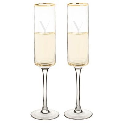 2ct  Y  Monogram Champagne Flute Gold