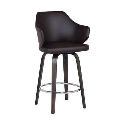 """30"""" Camden Mid Century Faux Leather Barstool Brown - Armen Living"""