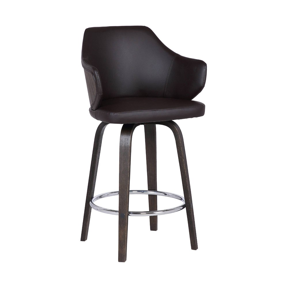 "Image of ""30"""" Camden Mid Century Faux Leather Bar Stool Brown - Armen Living"""