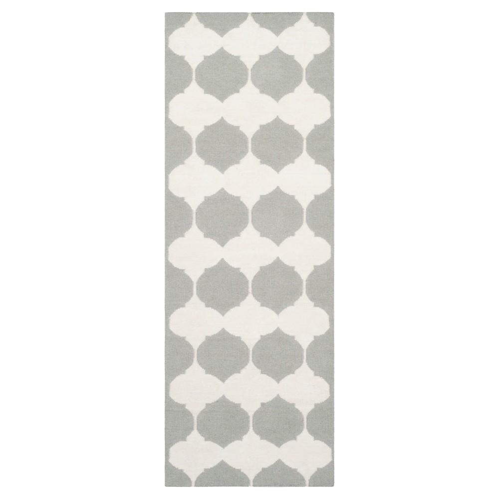 Negah Dhurry Rug - Grey/Ivory - (2'6x7') - Safavieh, Gray/Ivory