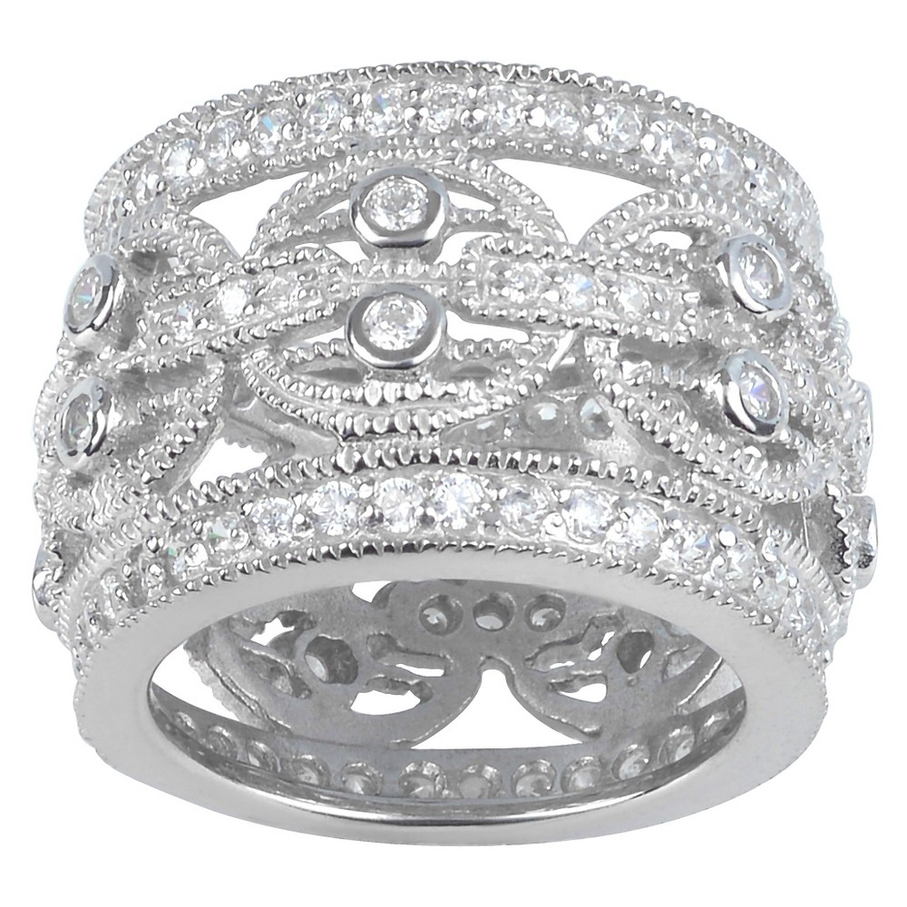1 1/10 CT. T.W. Round-Cut CZ Pave Set Wide Fashion Band in Sterling Silver - Silver, 6, Girl's