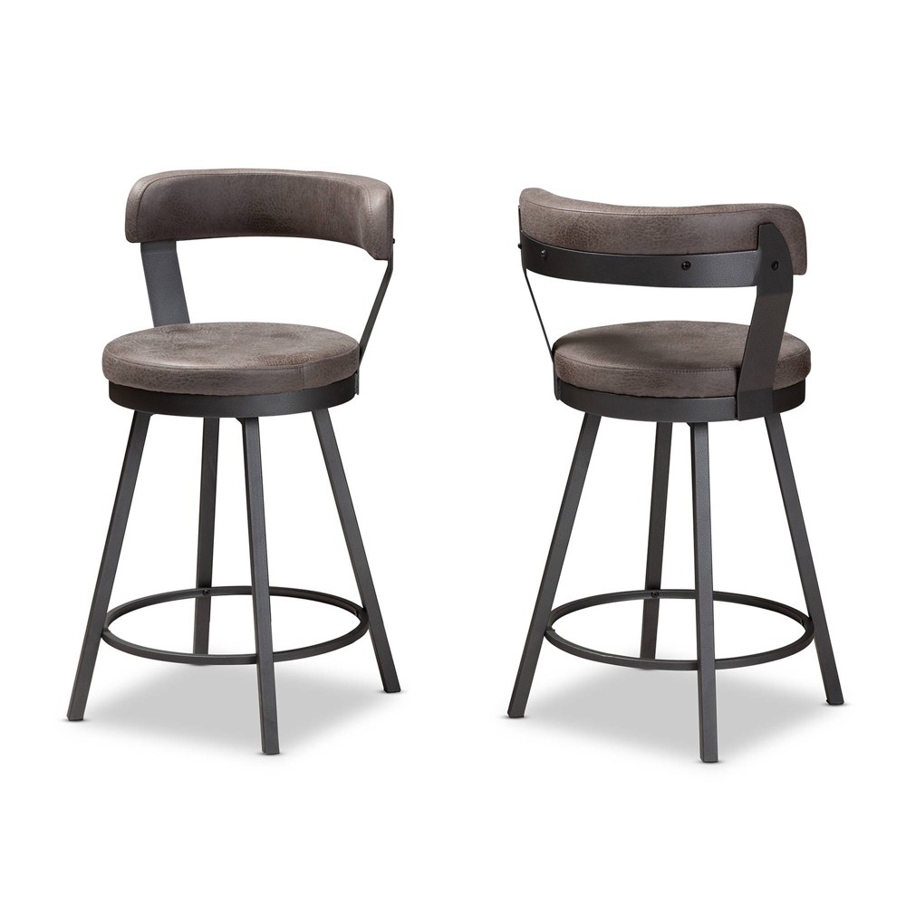 Set of 2 Arcene Faux Leather Upholstered Pub Stool Gray/ Black (Gray/Black) - Baxton Studio