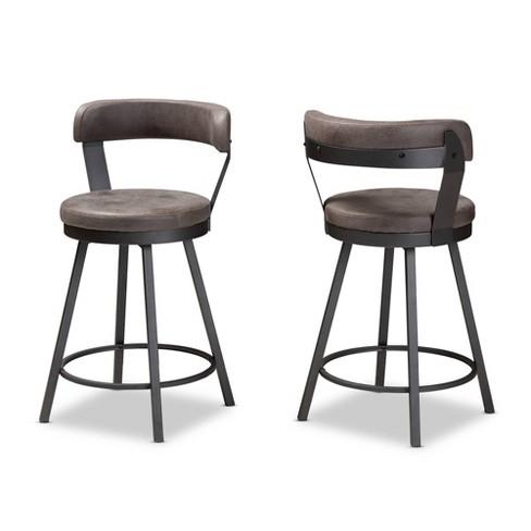 Set of 2 Arcene Faux Leather Upholstered Pub Stool Gray/ Black - Baxton Studio - image 1 of 4