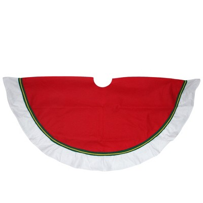 """Northlight 48"""" Red and White Contemporary Christmas Tree Skirt"""