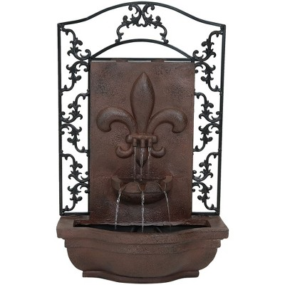 """33""""H Polystone French Lily Wall Mounted Waterfall Electric Outdoor Fountain - Iron Finish - Sunnydaze Decor"""