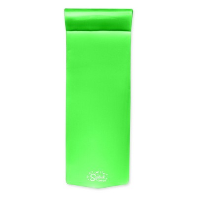 TRC Recreation Splash 1.25 Inch Thick Soft Foam Raft Lounger Swimming Pool Float Mattress with Headrest for Poolside, Lake, and Beach, Fierce Green