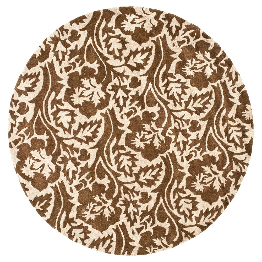 Brown/Ivory Botanical Tufted Round Area Rug - (6' Round) - Safavieh