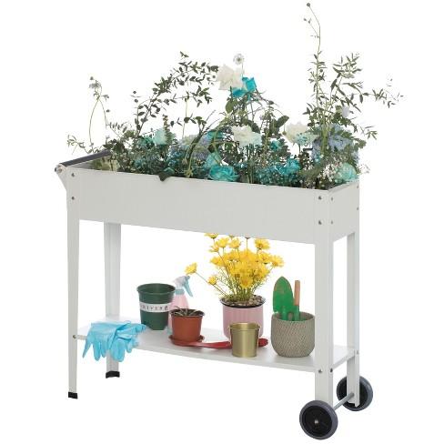 Gardenised Mobile Planter Raised Garden Bed Rectangular Flower Cart with Shelf - image 1 of 4