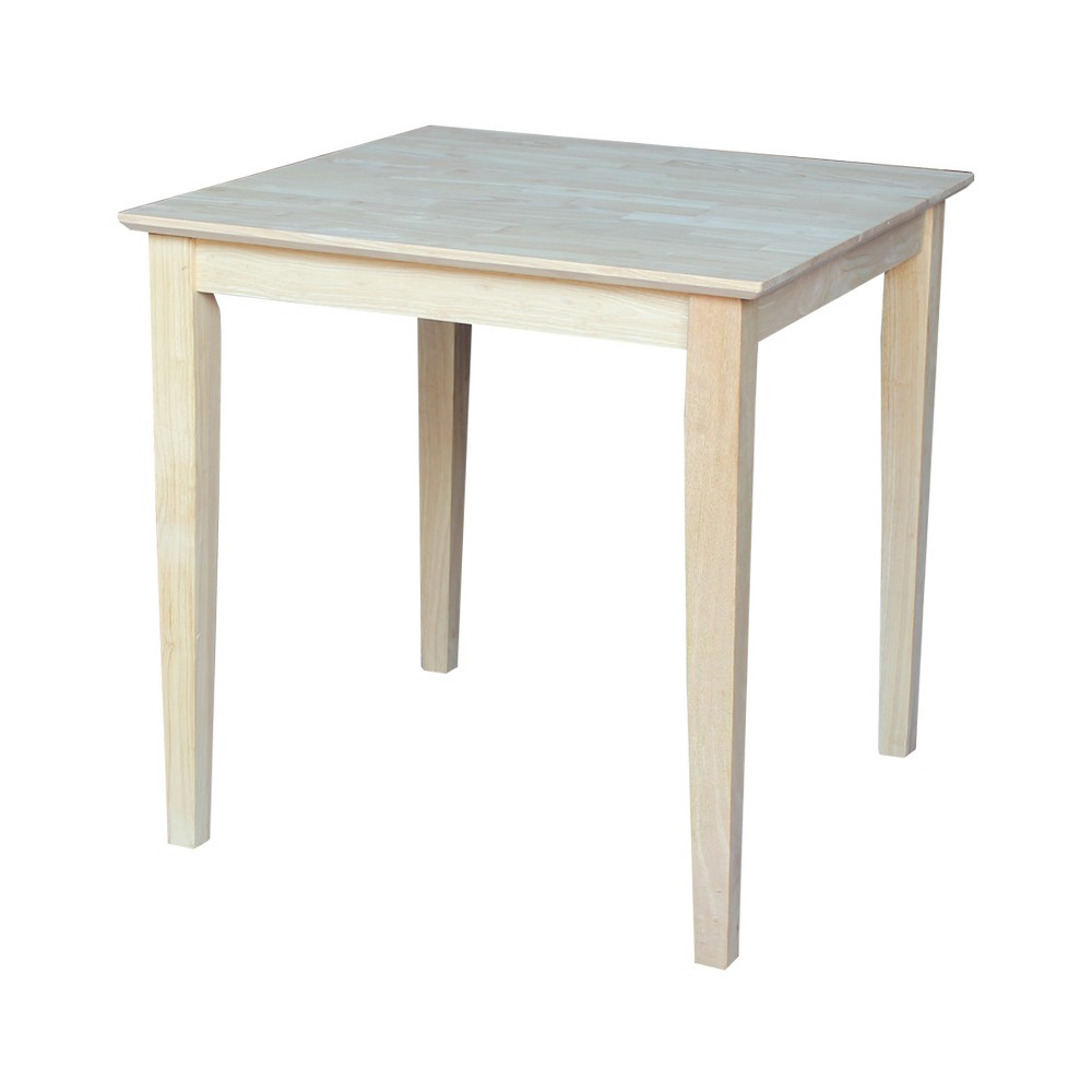 """Image of """"30"""""""" Square Solid Wood Dining Table with Shaker Legs Unfinished - International Concepts, Brown"""""""