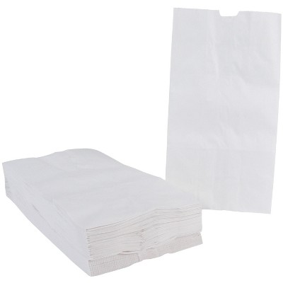 School Smart Paper Bag, Flat Bottom, 6 x 11 Inches, White, pk of 100