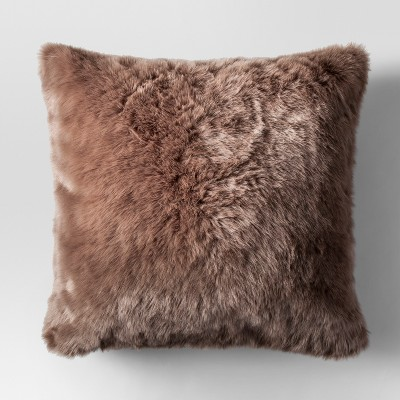 Brown Faux Fur Oversized Throw Pillow - Threshold™